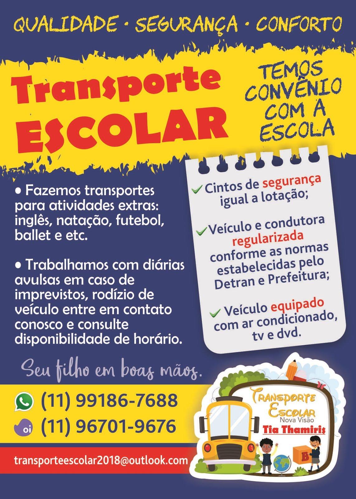 AGORA TEMOS TRANSPORTE ESCOLAR EXCLUSIVO!