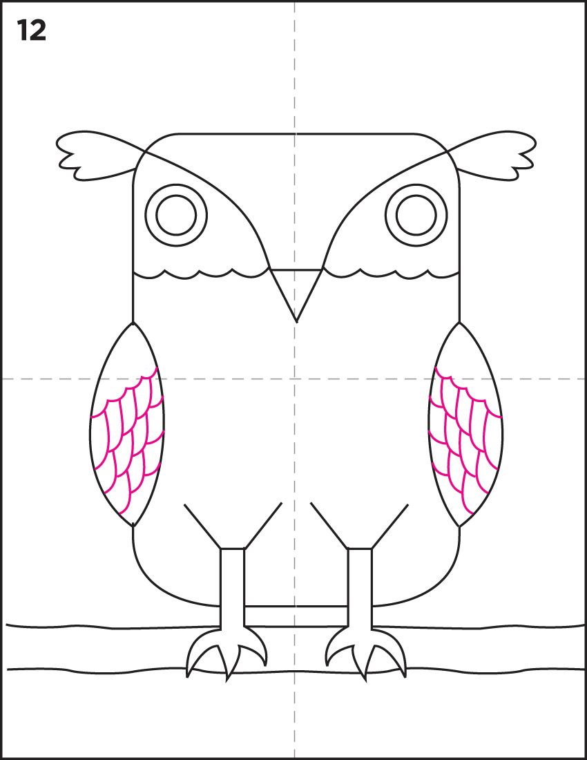 how to draw arctic owl-kids