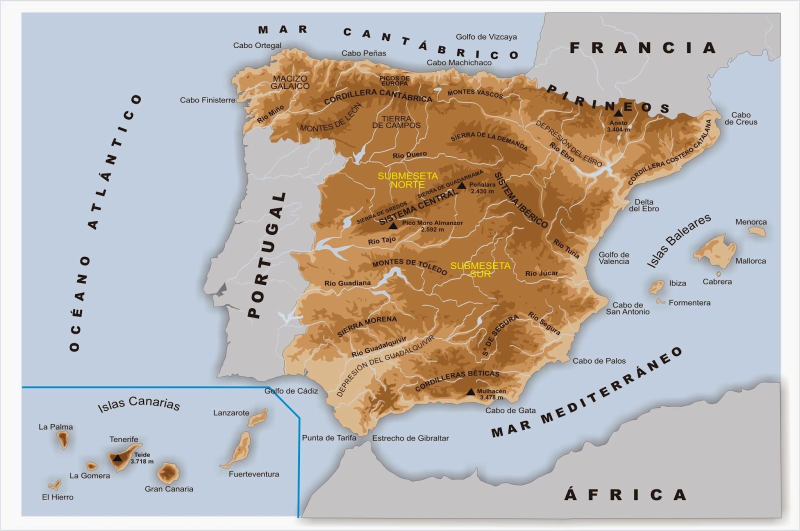 De viaje por la Historia Mapa fsico de Espaa bsico