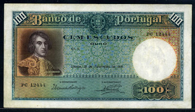 Portuguese 100 money currency Escudos banknote João Pinto Ribeiro