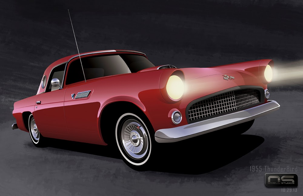 digital rendering ford t-bird art automotive design
