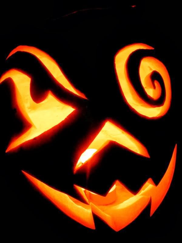 Spooky carved Halloween pumpkin