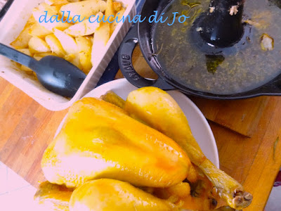 pollo al forno sullo spiedo-padella staub, con patate