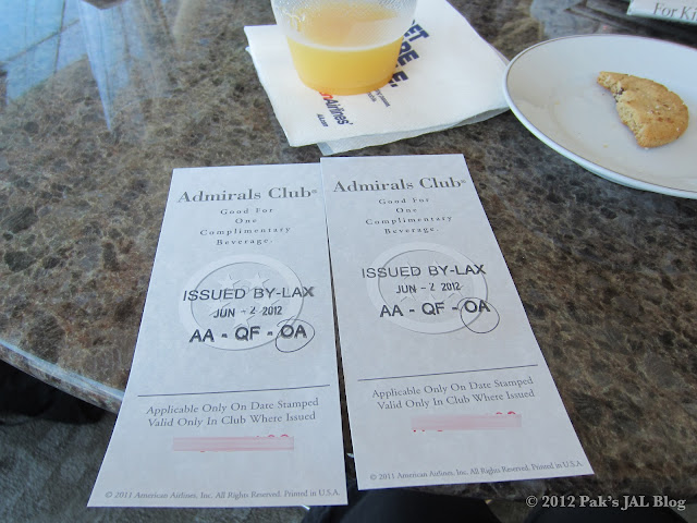 Drink vouchers for oneworld elites at LAX Admirals Club