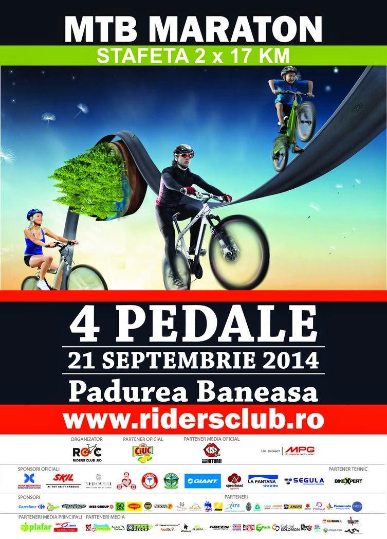 """Invitaţie la competiţia de ciclism în natură """"4 Pedale"""". 21 septembrie, pădurea Băneasa, Bucureşti. Afiş"""