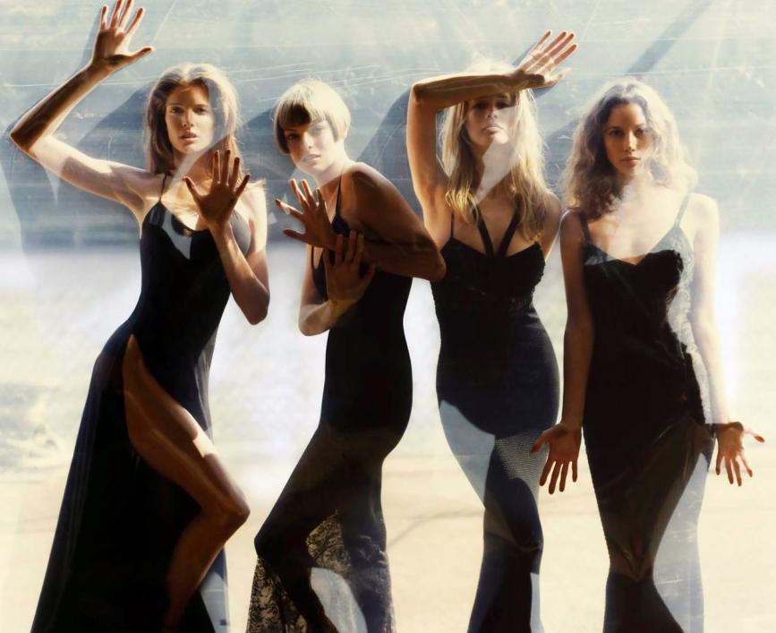 supermodels of the 1990s / Stephanie Seymour, Linda Evangelista, Christy Turlington & Claudia Schiffer by Steven Meisel for Vogue US September 1993 / via fashionedbylove.co.uk british fashion blog