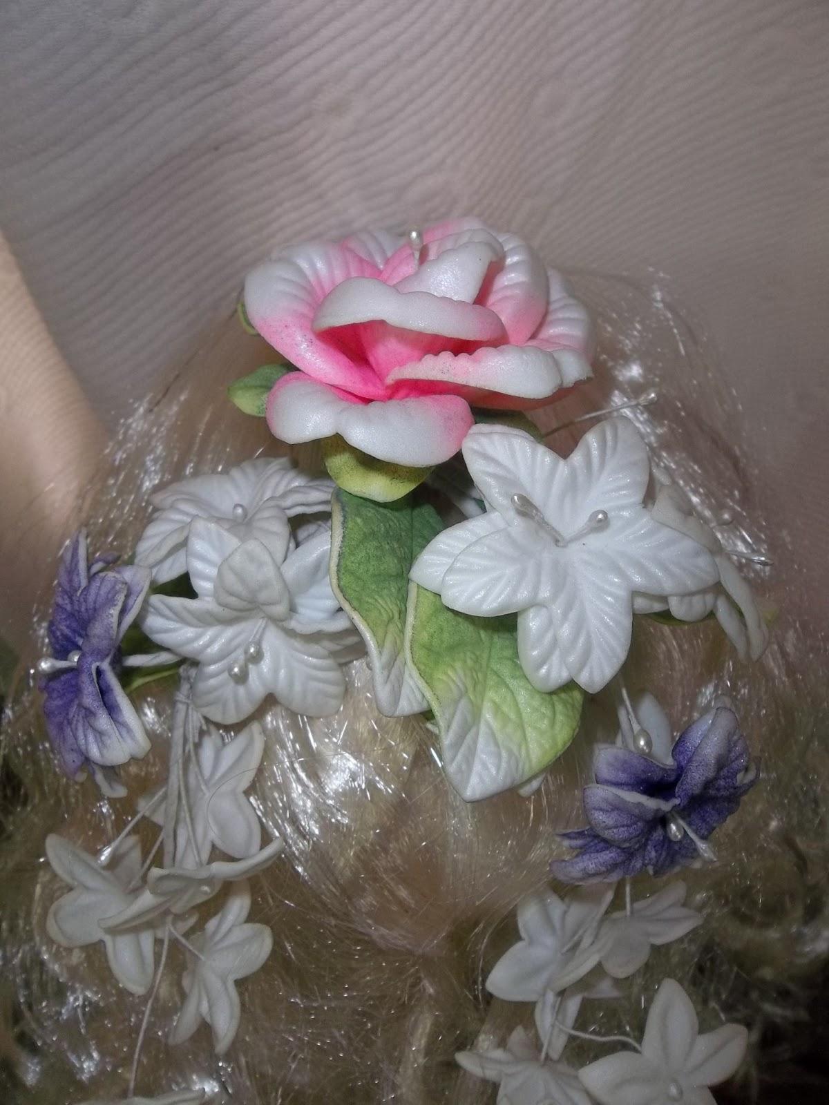 Flores en goma eva ramo y tocado de novia - Flor de goma eva ...