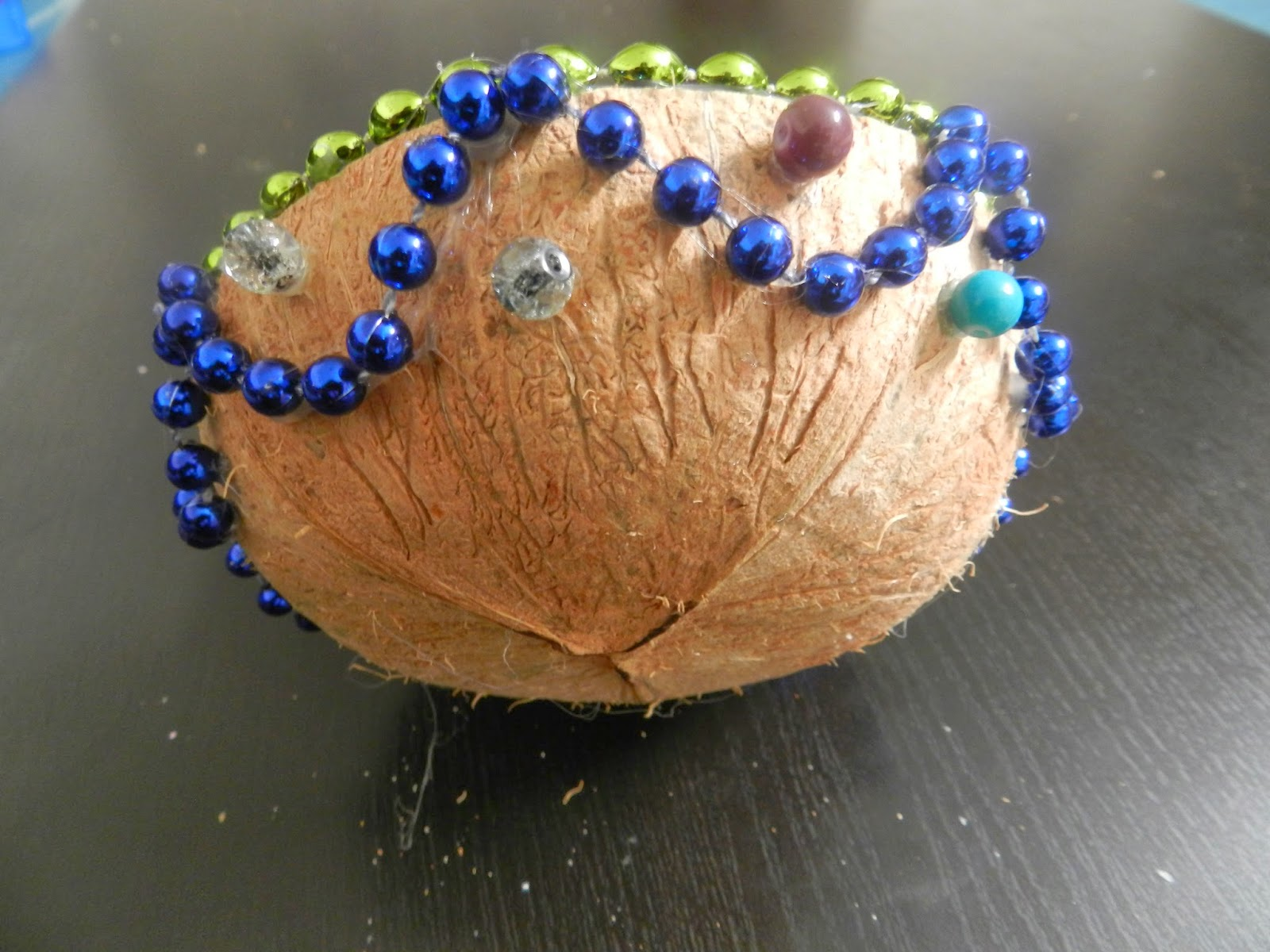 Fix The Color Stones Over Inner Side Of Coconut Shell