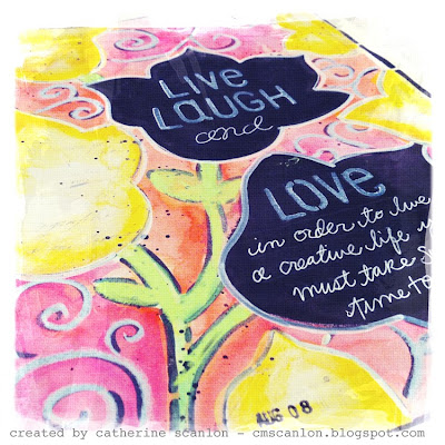 "Art Journal Page by Catherine Scanlon using Art Gone Wild! & Friends 9"" x 12"" Journal Flowers Stencil + Clear Set LC-2702 Alphabet"