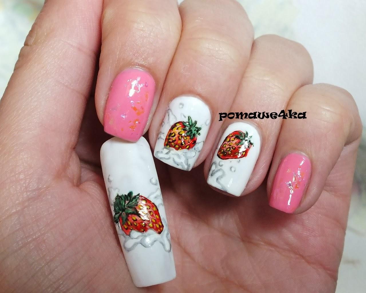 Клубника дизайн на ногтях