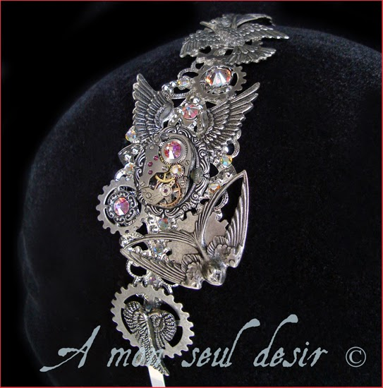 Steampunk Headband Mecanical Headdress Birds WheelWork Watch Work Clockwork Jewellery