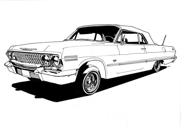 Hydraulic Car Coloring Pages : Donutchocula lowrider coloring book