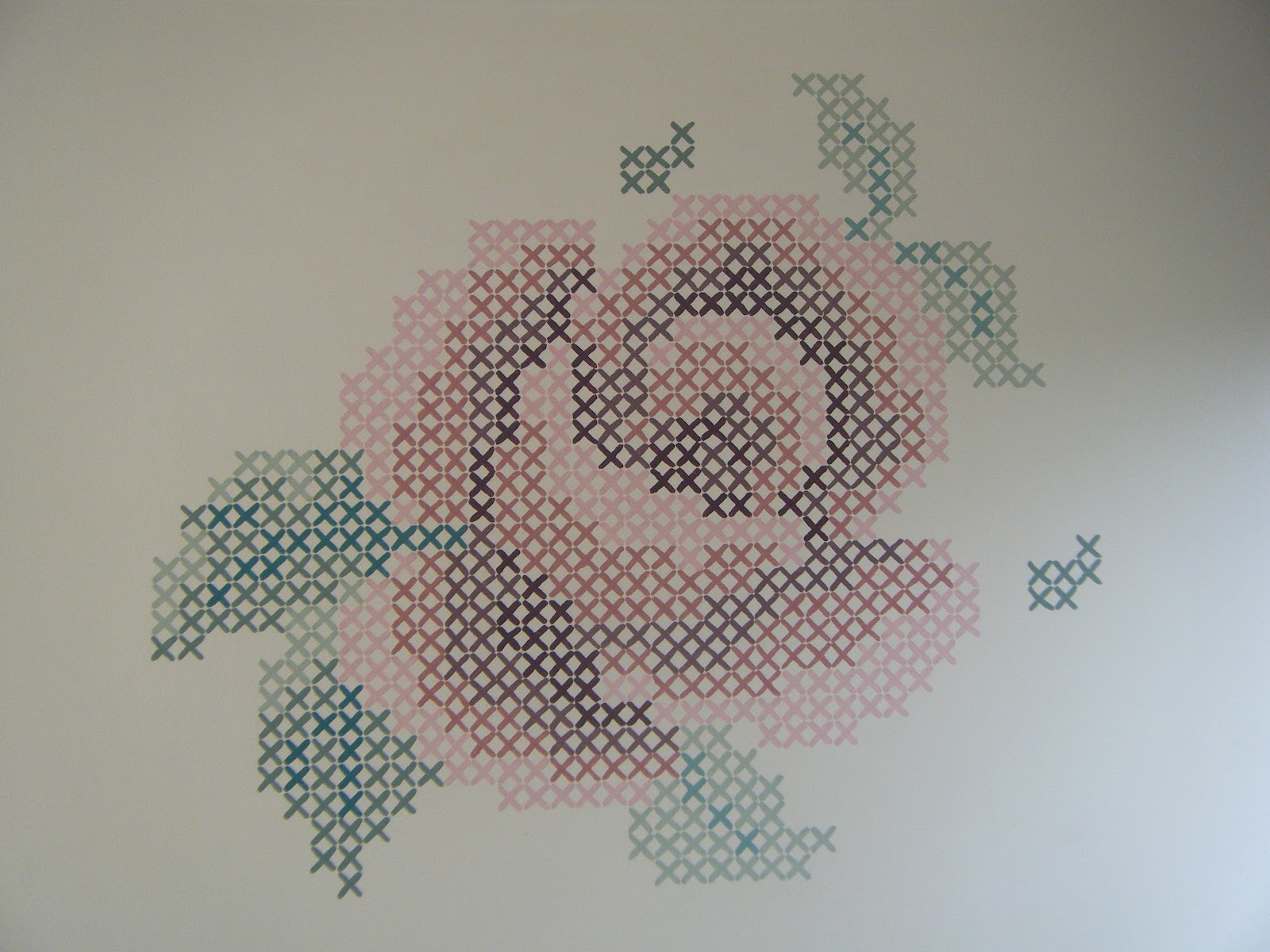The sewing mistress blog rose cross stitch mural for Cross stitch wall mural