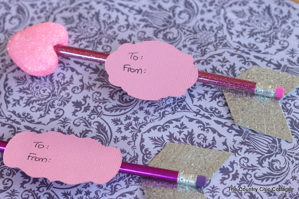 Pencil Arrow Valentine -- turn pencils into fun arrows to give as gifts this Valentine's Day!