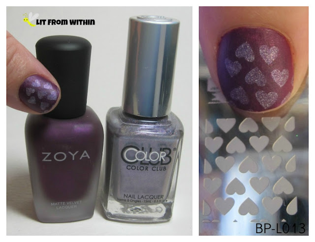 What I used:  Zoya Iris, Color Club Date With Destiny, and stamping plate BP-L013.