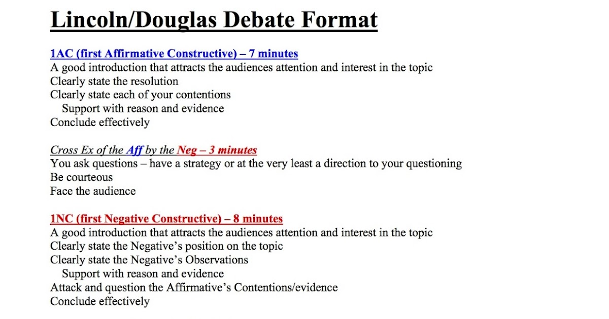 staples debate team  lincoln  douglas debate format