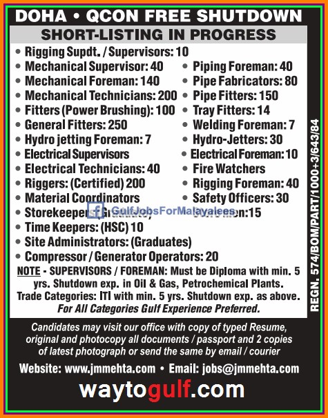 QCON Free Shutdown Jobs For Doha Qatar