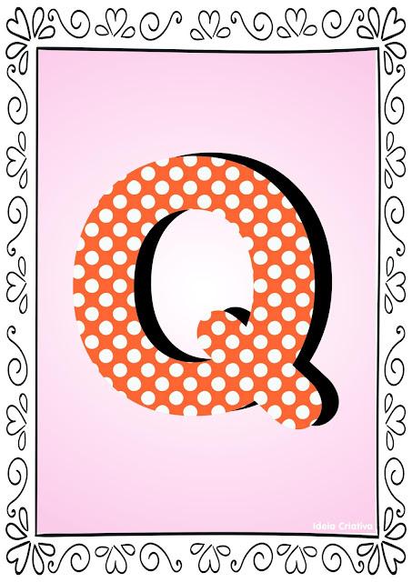 Alfabeto Poá Colorido com Borda Letra Q