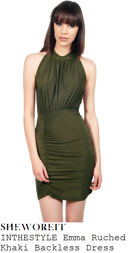 charlotte-crosby-khaki-green-sleeveless-ruched-halter-bodycon-mini-dress