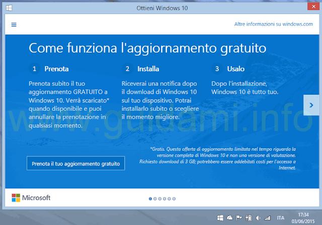 Applicazione Ottieni Windows 10 Prenota il tuo aggiornamento gratuito