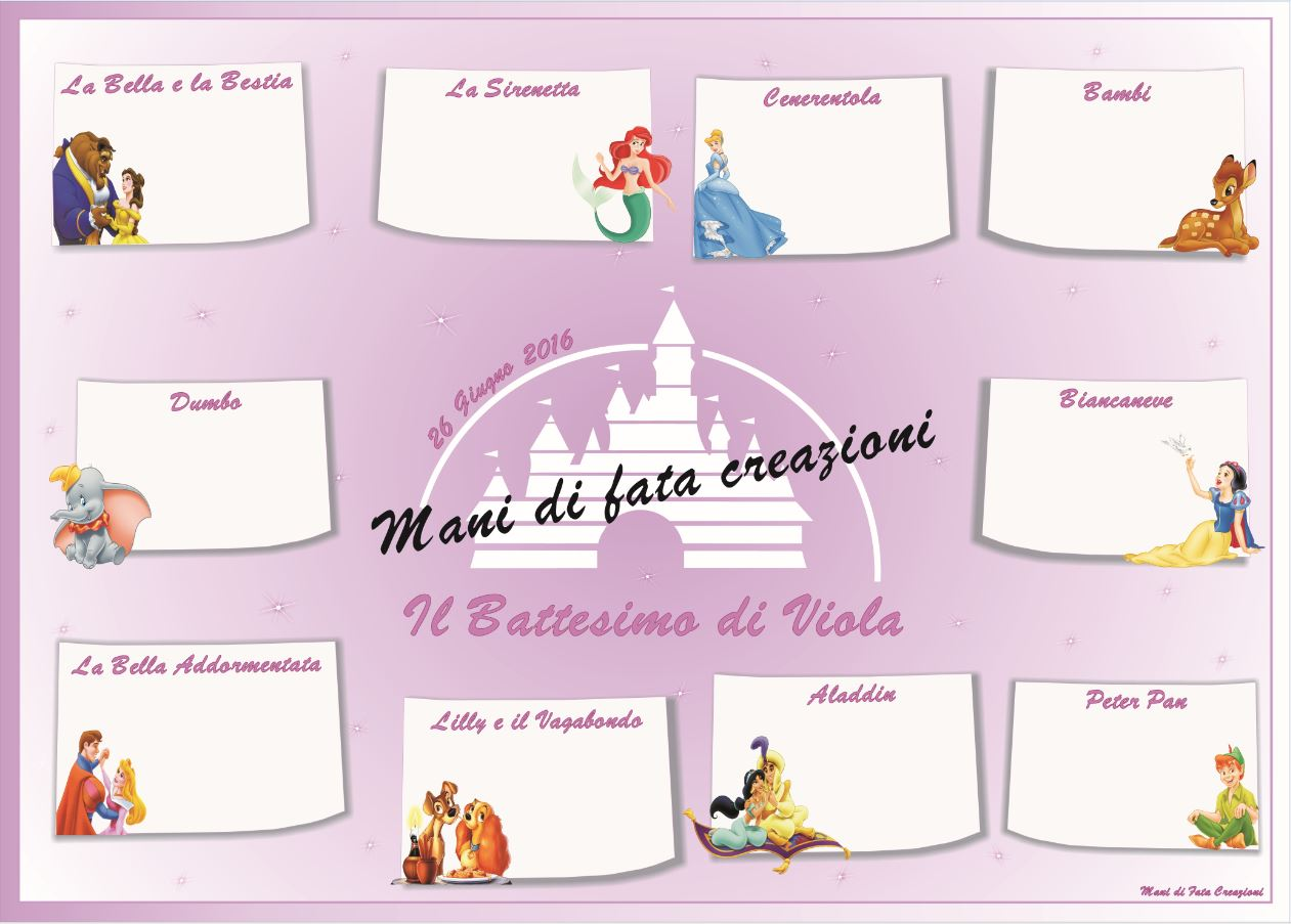 Top Mani di Fata Creazioni: Tableau Battesimo Fiabe Disney TT84