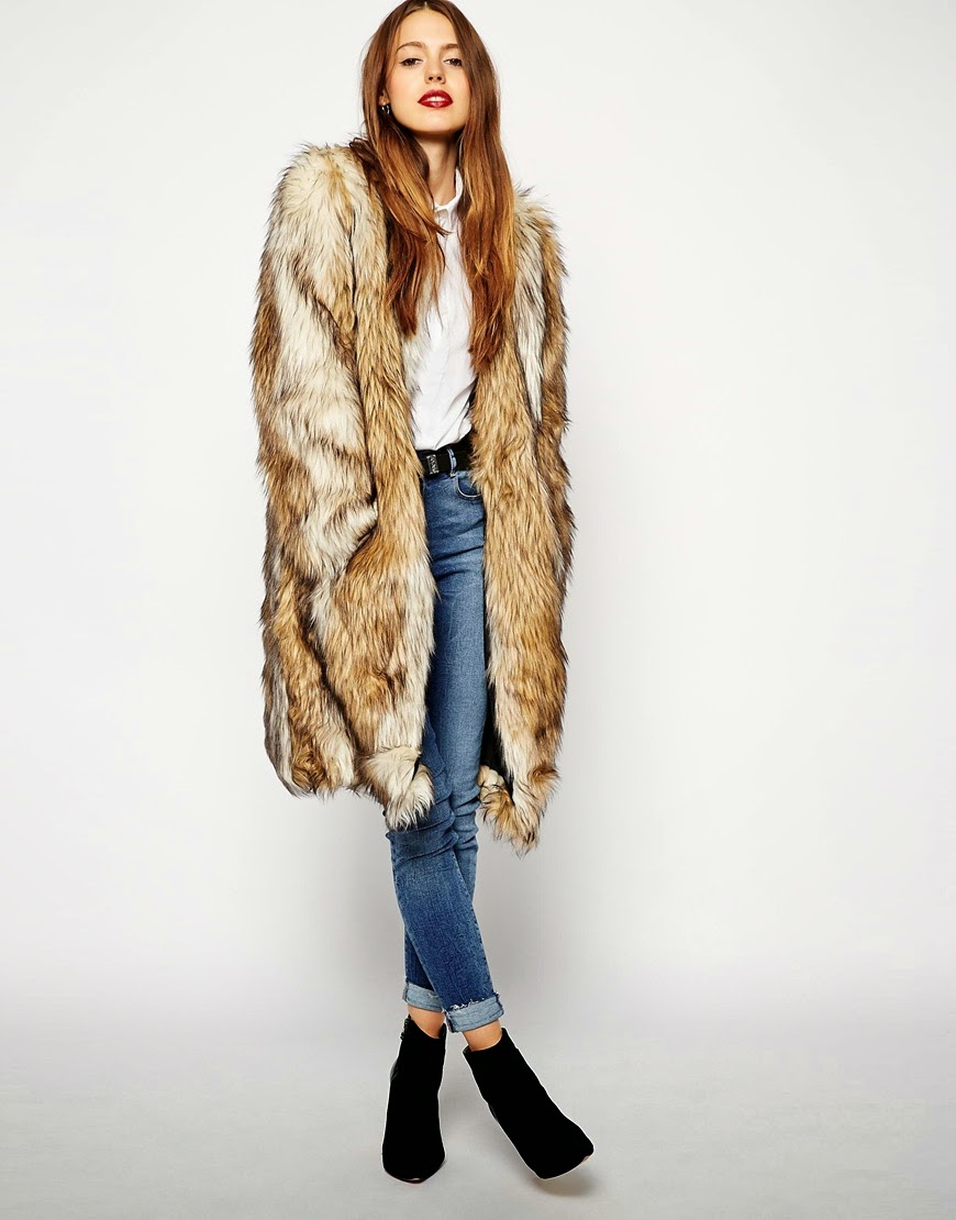 vintage mid length faux fur coat