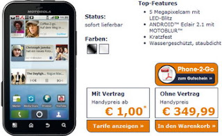 IP67-certified Motorola Defy Android-powered rugged phone available in Germany