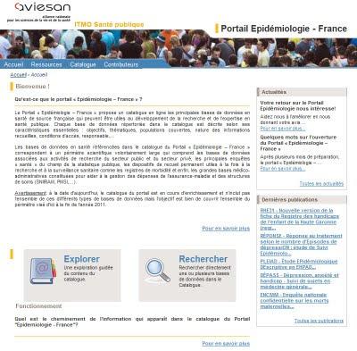 page d'accueil du du site Portail Epidémiologie - France