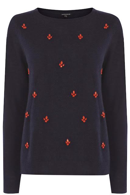 navy embellished jumper