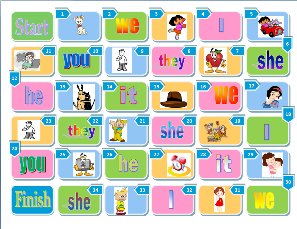 Pronouns Boardgame on Board Game Worksheet