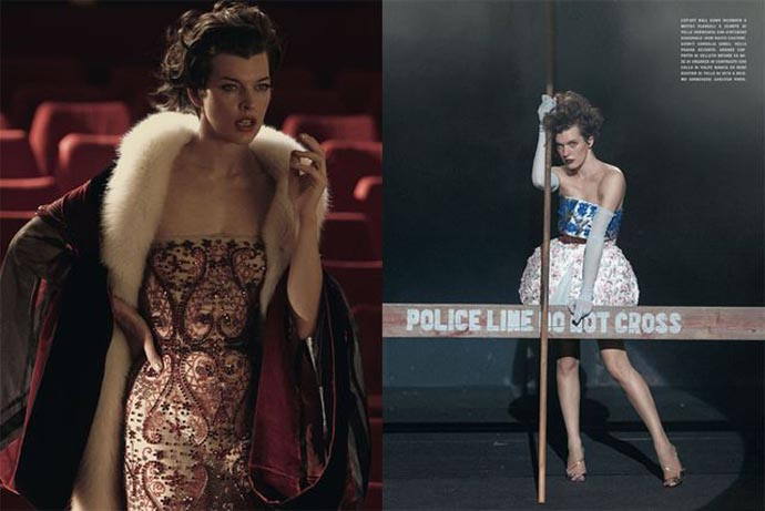 Shoot by Peter Lindbergh for Vogue Italia September 2012, starring Milla Jovovich, Styling by Jacob K