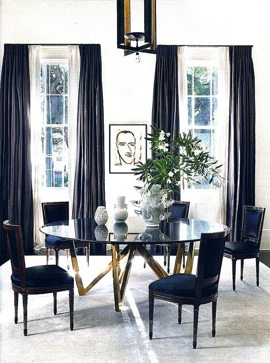 The peak of tr s chic needing wanting loving louis xvi for Navy blue dining room ideas