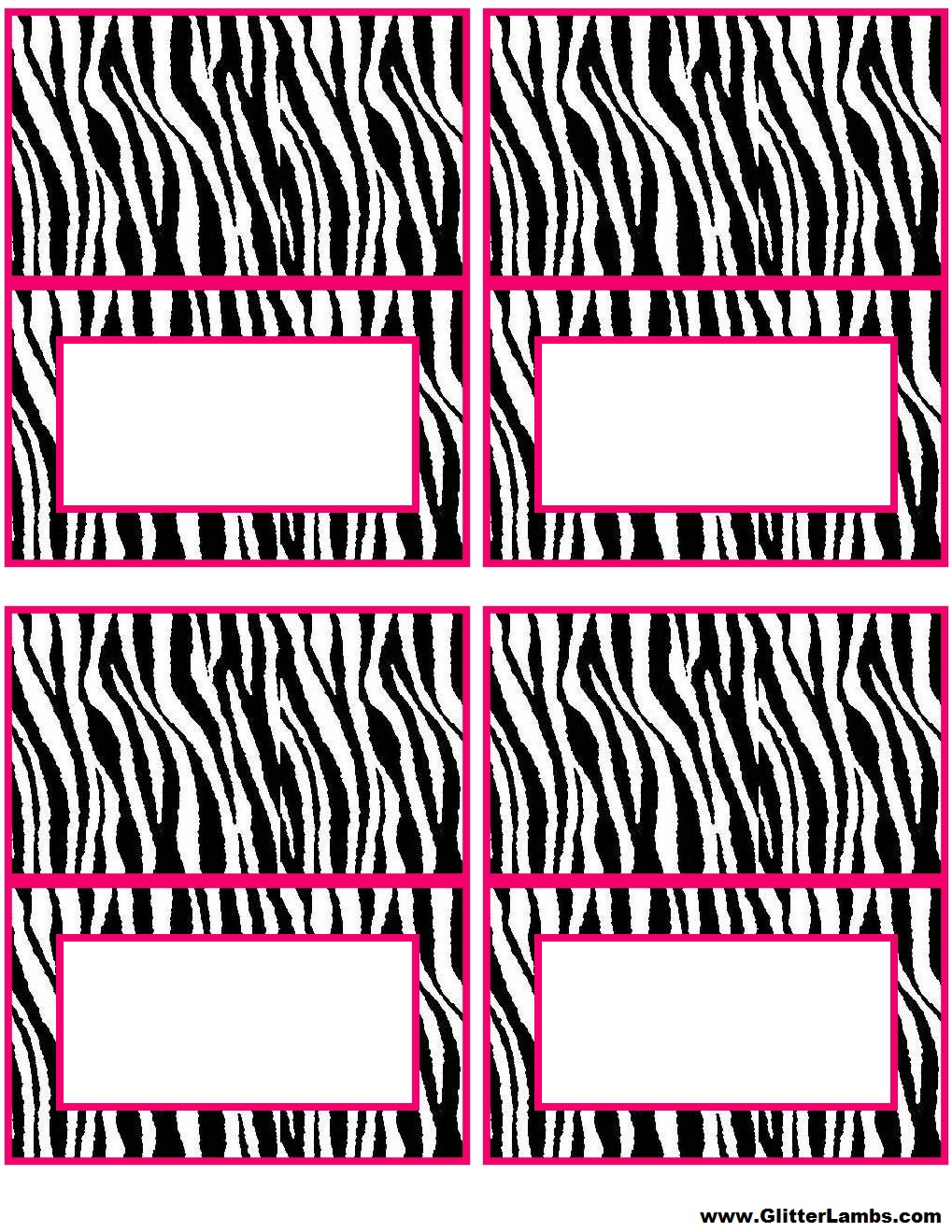 Glitter Lambs: Pink Zebra Food Label Cards And Free Printable Cupcake Topper Templates For A DIY ...
