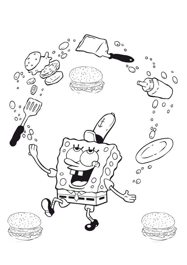 spongebob krabby patty coloring pages - photo#3