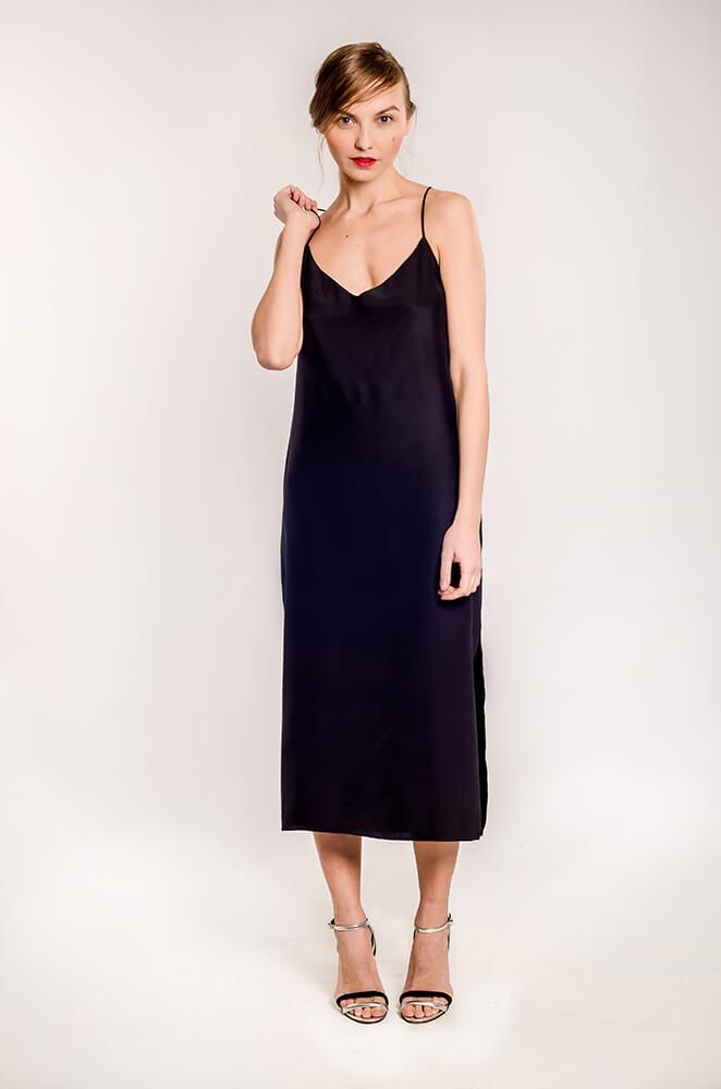 Купить черное шелковое платье