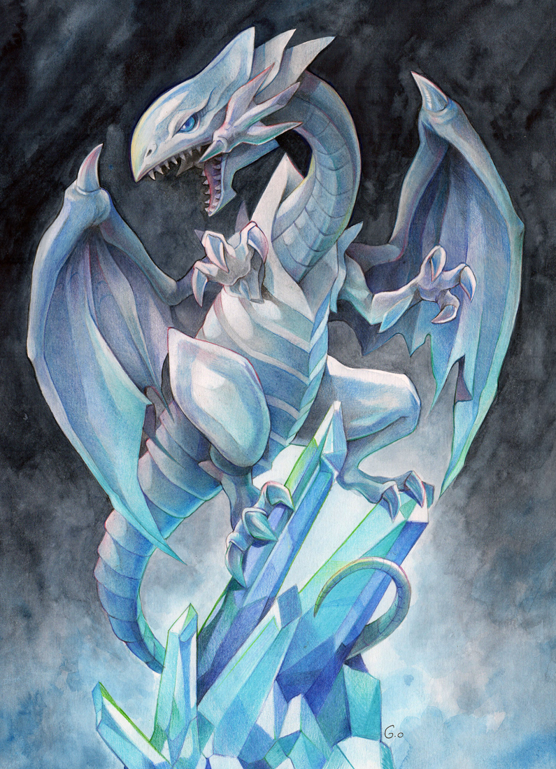 gowenillustration blue eyes white dragon