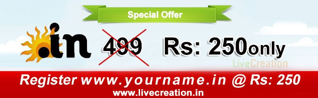 lc1 .IN Domains at 250 Rs in livecreation.in