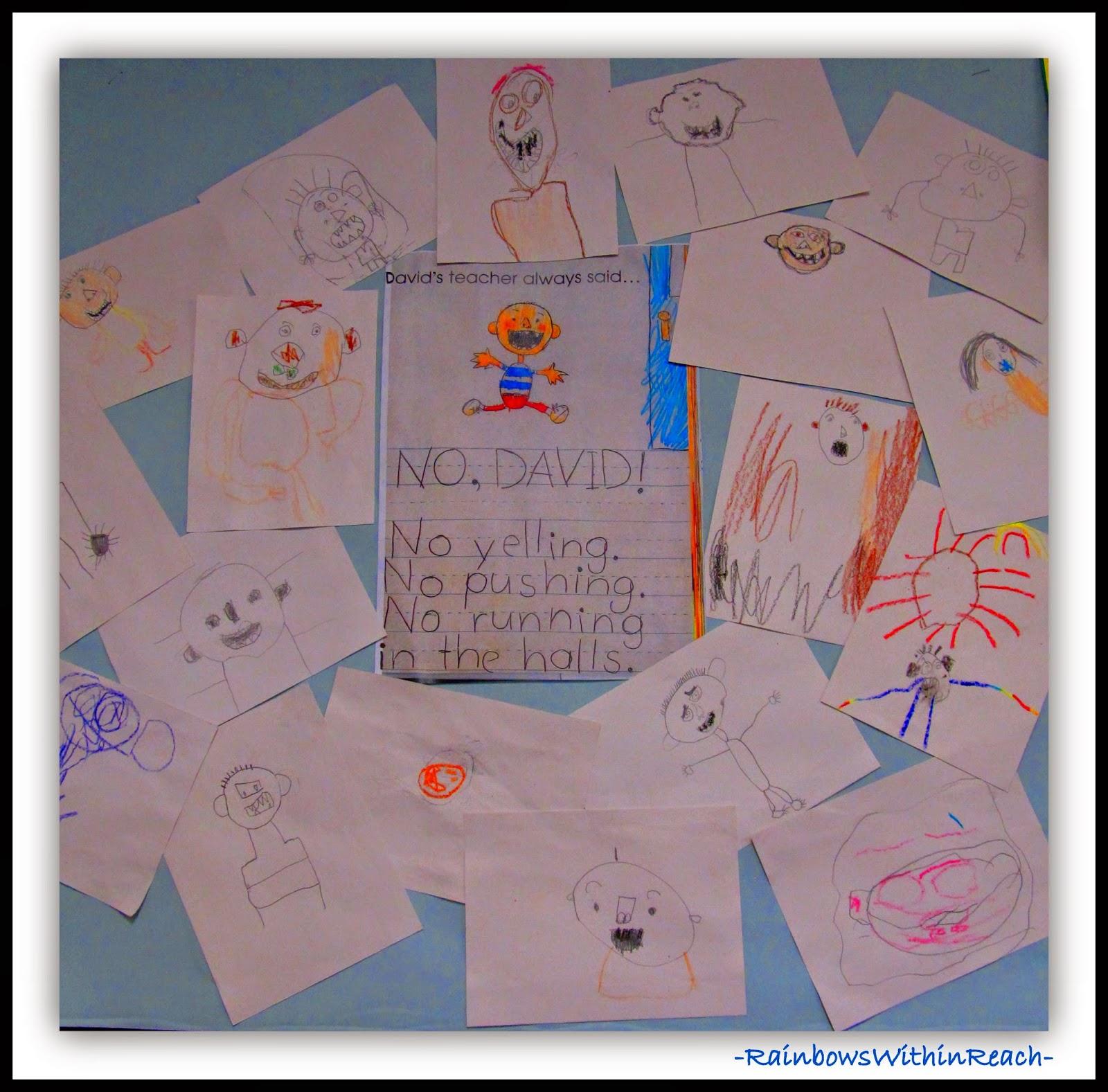 """No David!"" Anchor Chart for School Behaviors + Expectations at RainbowsWithinReach"