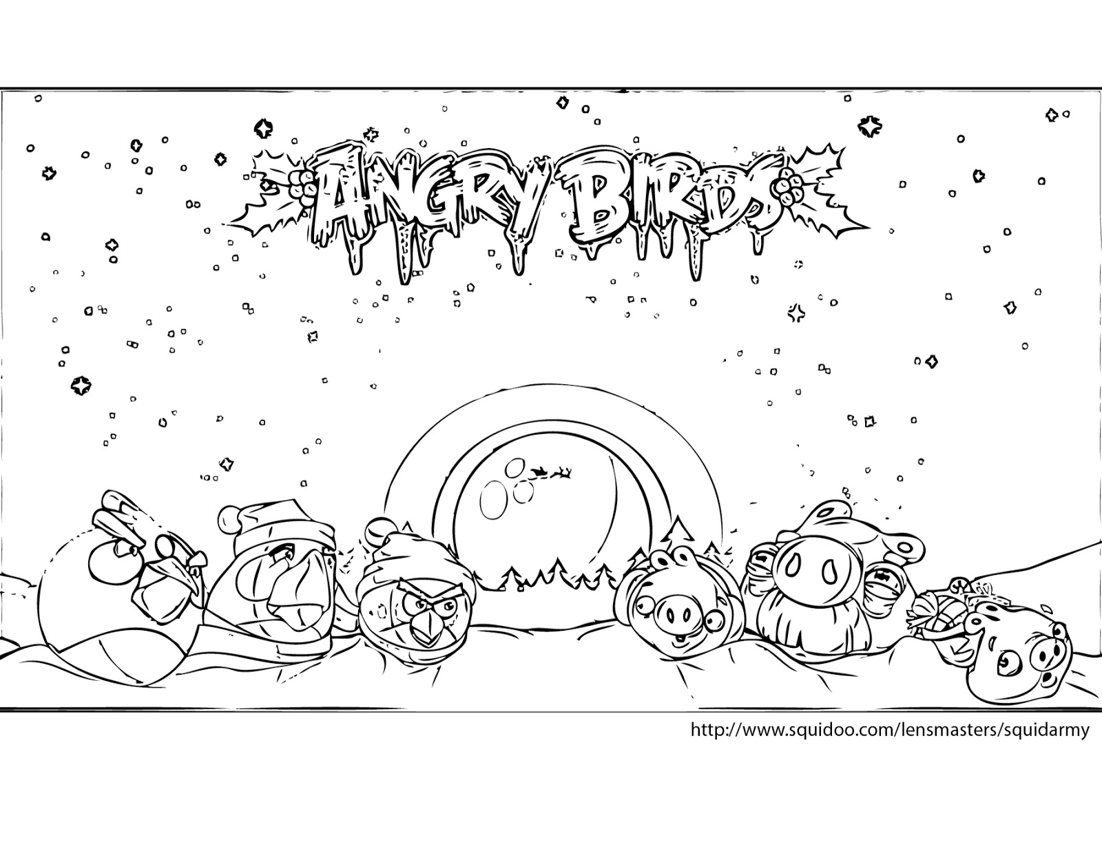 Angry birds coloring pages - Squid Army