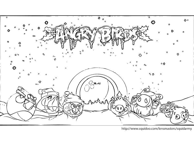 angry birds christmas coloring pages title=