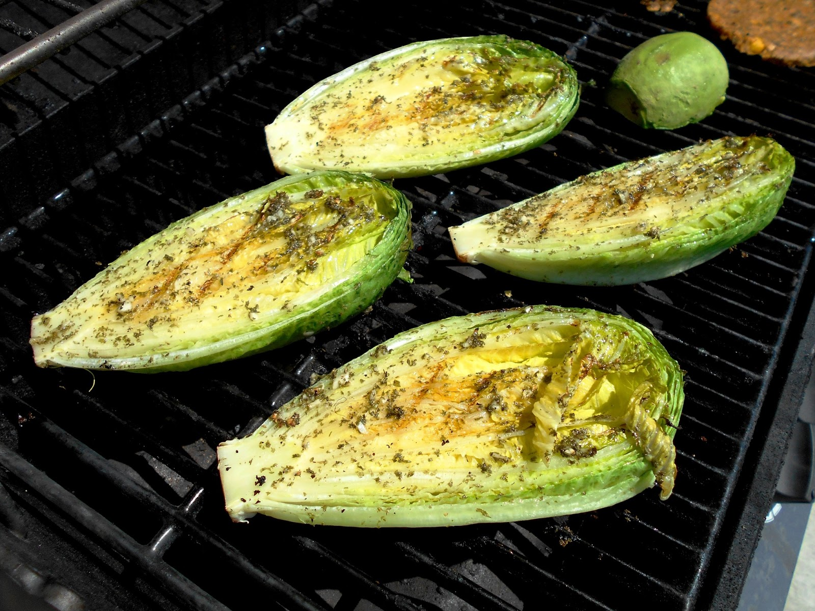 Grilled Romaine Hearts with Roasted Red Pepper Dressing