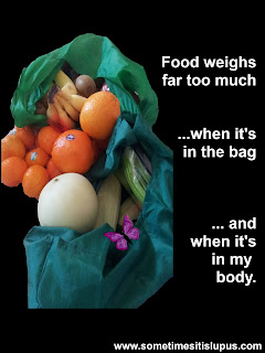 Image: bags of fruit and vegetables. Text: Food weighs too much ... when it's in the bag ... and when it's in my body.