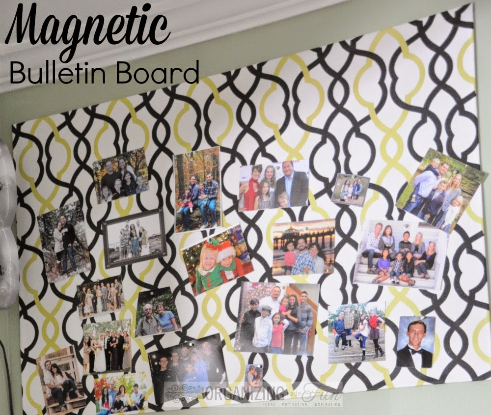 Magnetic Bulletin Board to keep pictures of loved ones :: OrganizingMadeFun.com