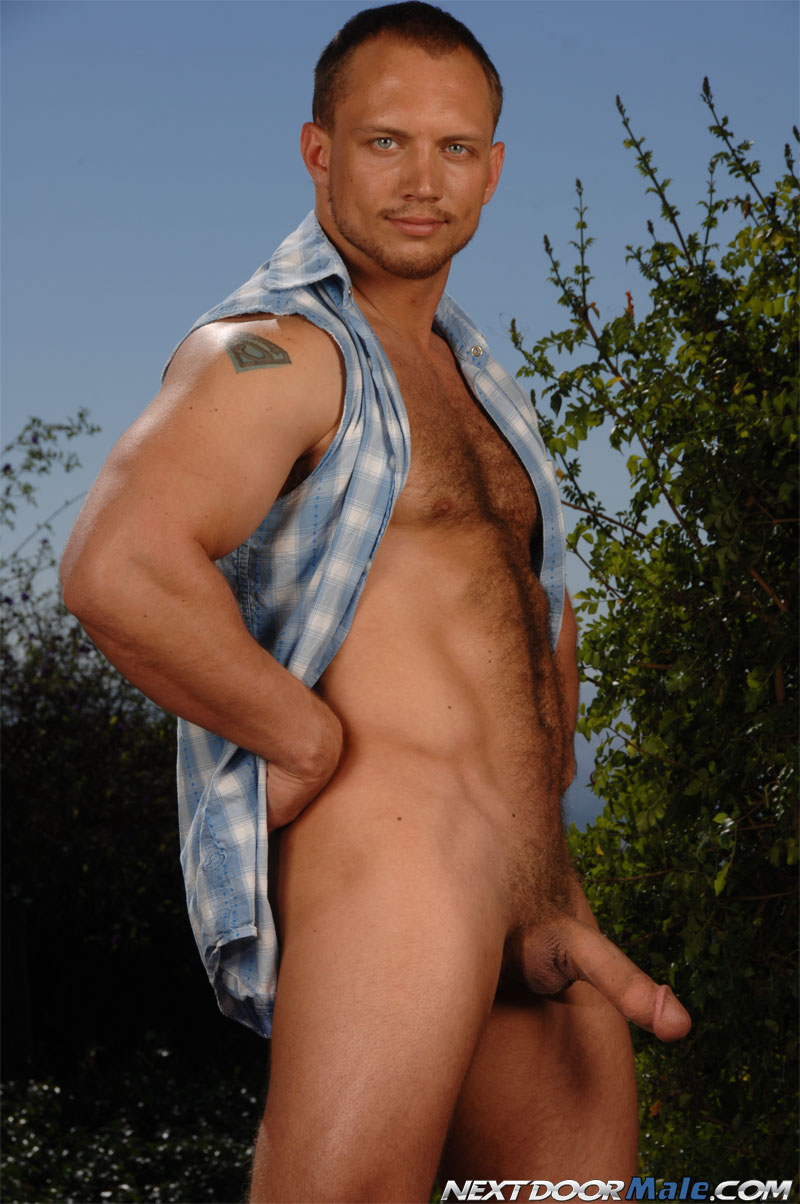 ybuilder thick cock hairy torso tattoos blue eyes masculine top dominant girth big dick Next Door Male posing beefy powerful scruffy gay porn star 4 sex sex mature hot