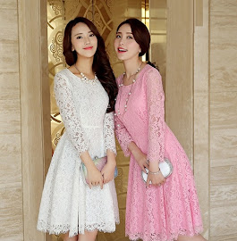 Pink/White/Gray Long Sleeve Lace Skater Dress
