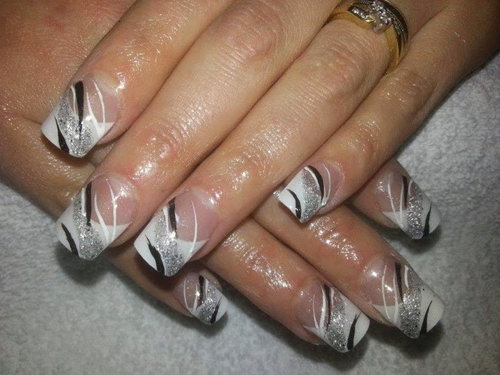 Classic pink white sculpts with a tinge of shimmer added to the lisa classic pink white sculpts with a tinge of shimmer added to the cover powder gelish silver and black nail art prinsesfo Images