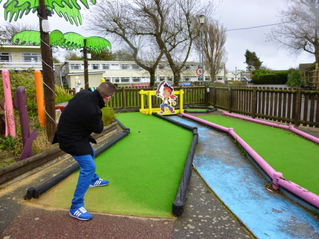Richard Gottfried playing the Pirate Crazy Golf course at Pontins Camber Sands Holiday Park
