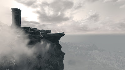 dragonborn at the ridge of a mountain
