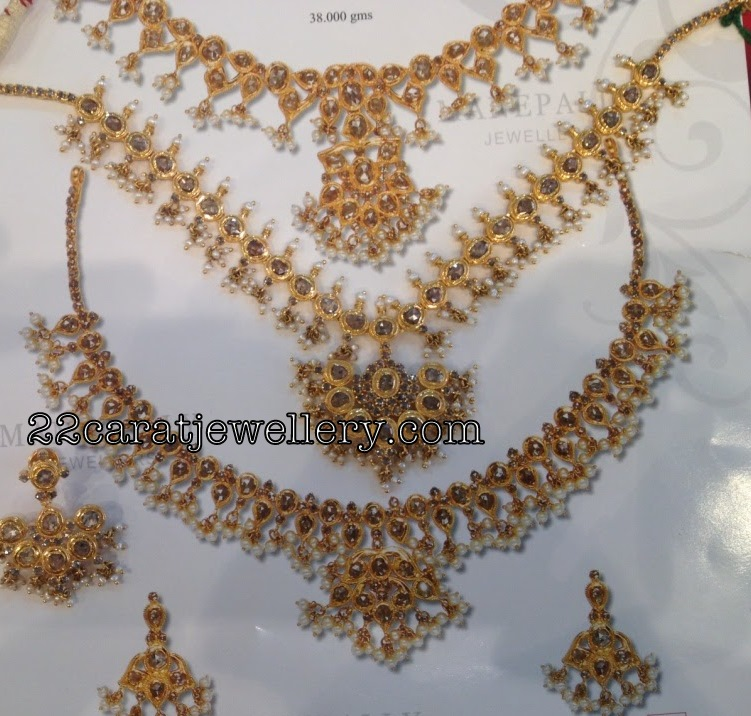 Uncut Diamond Necklaces - Below 50 Grams - Jewellery Designs