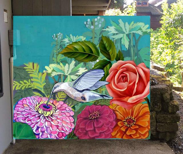 hummingbird mural, rose mural, tropical flowers mural, zinnias mural, garden mural, portland mural